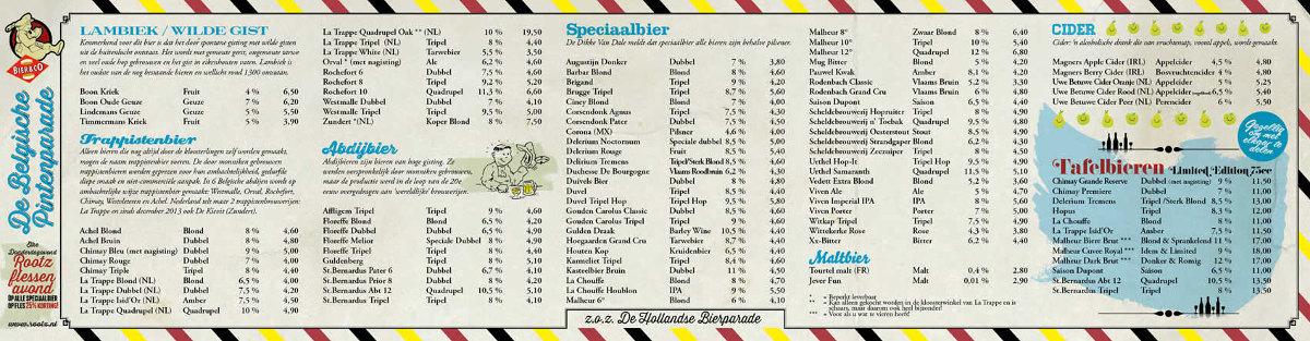 Rootz bierkaart (Belgisch)